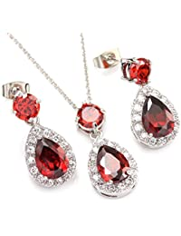 Colorfulday White Gold GP Blue Crystal Teardrop Bridal Necklace Dangle Earring Jewelry Set QWL9N6W