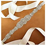 ShinyBeauty Ivory Crystal Pearl Wedding Bridal Dress Belt With Satin Sash Ribbon =18