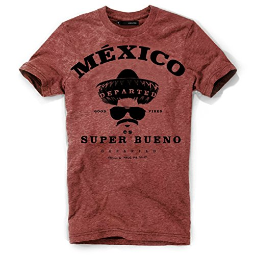 DEPARTED Herren T-Shirt mit Print/Motiv 3929-150 - New fit Größe S, Dusk Canyon red
