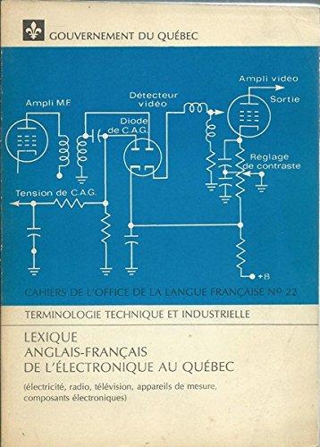 Lexique Anglais Français de l'Electronique au Québec