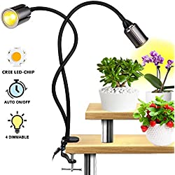 Relassy Lampe de Plante, Lampe pour Plantes 75W, Lampe de Croissance avec 3/6/12 Fonction de minutage Cycle, Niveau 4 dimmable, Double tête Full Spectre Lampe horticole pour Plantes intérieur (F-75W)