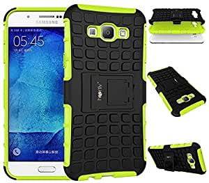 Heartly Flip Kick Stand Spider Hard Dual Rugged Armor Hybrid Bumper Back Case Cover For Samsung Galaxy A8 A800F - Great Green