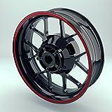 OneWheel Felgenrandaufkleber 6mm Motorrad & Auto (15-19 Zoll) - Farbe wählbar - 10 Felgenstreifen für Vorder- & Hinterreifen | Rim Sitcker (Rot - matt)