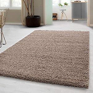 Carpetsale24 Hochflor Shaggy Teppich für Wohnzimmer Langflor Pflegeleicht Schadsstof geprüft 3 cm Florhöhe Oeko Tex Standarts Teppich, Maße:80x150 cm, Farbe:Beige