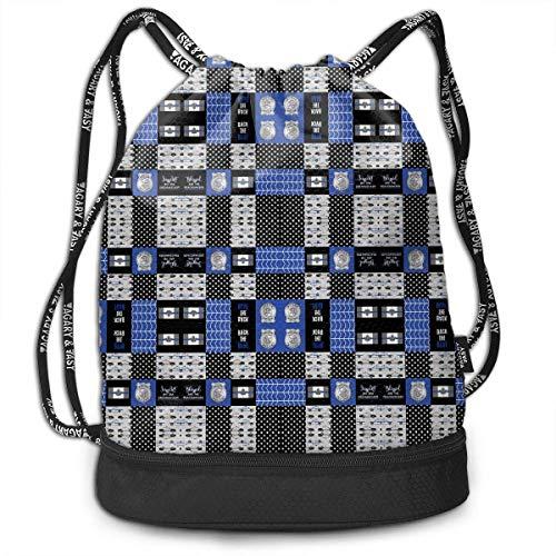 3D Printed Bundle Backpack,Police Canadian Flag Patchwork Drawstring Backpack Bags/Travelling Bag
