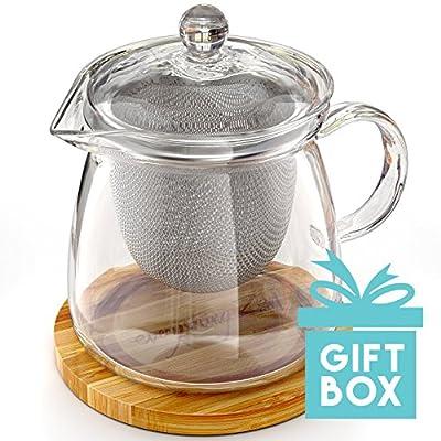 Everything Zen - The Perfect Teapot - Théière en verre soufflé à la main de qualité optimale - Infuseur en acier inoxydable et base en bambou gravé