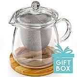 Die perfekte Teekanne für zwei, was Zen–Elegantes mundgeblasenes Glas Teekanne mit Bambus Graviert Tee Topf Untersetzer/Topfuntersetzer, Edelstahl-Ei & Glas Deckel–kein Drip–800ml/27Fl Oz