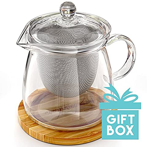 Le Parfait Théière pour deux par tout Zen–élégante Théière en verre soufflé à la main avec gravure Pot à thé en bambou Dessous de Verre/Dessous de Plat, Acier inoxydable Infuseur et couvercle en verre–pas d'égouttement–800ml/0,8l