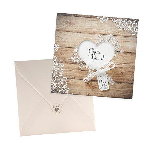 skarte Lisa zur Hochzeit, 3 Stück Blanko Hochzeitseinladungen mit passendem Umschlag u. weddix Siegeletikett (Günstige Rustikale Hochzeits-einladungen)