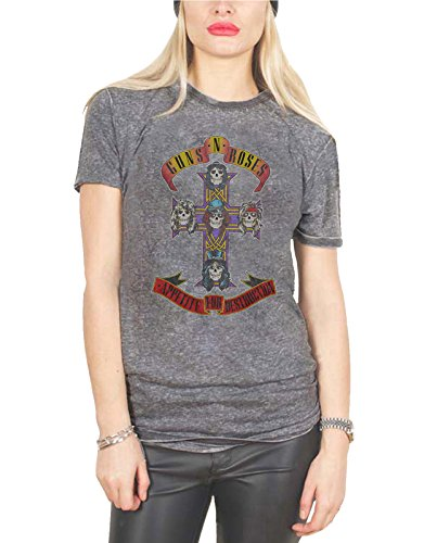 Guns N Roses T Shirt Appetite for Destruction Official Womens Acid Wash Grey