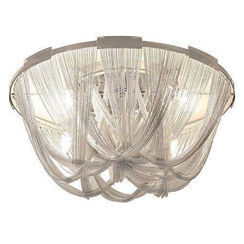 Junhong Lighting LED E14 Fringe Licht Postmodern Quaste Silber Aluminium Kette Deckenleuchte Lampe Kronleuchter Luxus kreative Persönlichkeit Wohnzimmer Schlafzimmer Studie Lampen (D60cm x H28cm)