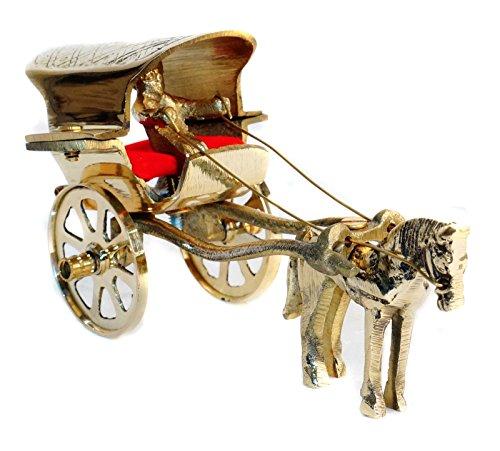 Pindia Brass Decorative Handicraft Horse Cart Tanga Showpiece Miniature Gift