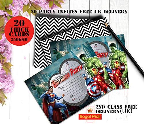 design buddies Einladungskarten für Jungen, Superheld, Marvel Held, Avengers Party, 250 g/m², 20 Stück