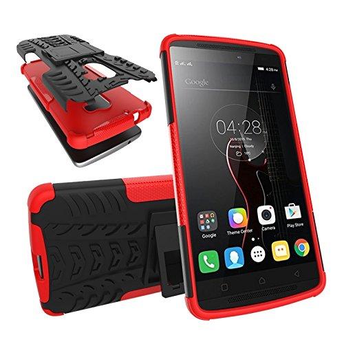 JDDRCASE Handy Zubehör Hüllen, Dual-Layer-Hybrid-Rüstungsfall Abnehmbarer Kickstand 2 In 1 Stoßfestes, Robustes Gehäuse Für Lenovo A7010 (Farbe : Rot)
