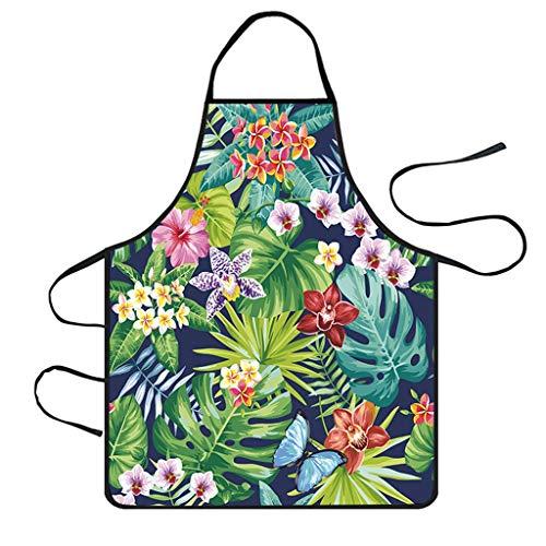 Hawaii-schürze (FBGood Kreativ Hawaii Stil Blätter Drucken Schürzen, Langlebig Wasserdicht Polyester Latzschürze Zuhause Frauen Verstellbarem Kochschürze für DIY, BBQ, Kochen, Backen, Kunst Malerei)