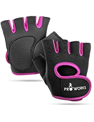Proworks Women's Padded Grip Fingerless Gym Gloves for Weight Lifting, Cross Training, Exercise Bikes & More – Black with Pink Trim