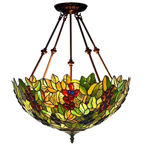 Tiffany-Art-Trauben-Deckenleuchte, 18 Zoll-Buntglas-Farbton-Leuchter, 4 Arme, 3 Lichter-umgekehrte Decken-hängende Hängende Lampen-Befestigung Für Esszimmer-Wohnzimmer-Schlafzimmer (Design : A-220V) -