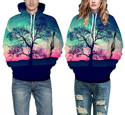 Pretty321 Men Women Scenery Digital Print Hoodie Sweatshirt w/ Pocket Collection Tree Colorful Sky
