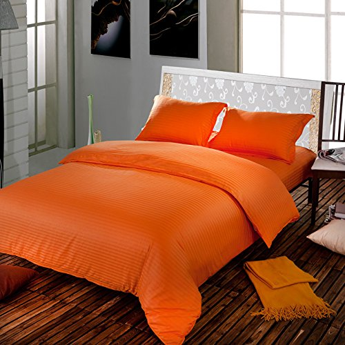 Bettwäsche aus ägyptischer Baumwolle, 550 Fadenzahl, 45.72 cm Tief Pocket Sheet Set mit Extra UK Kissenbezug klein, Orange-gestreifte 550TC 100% Baumwolle