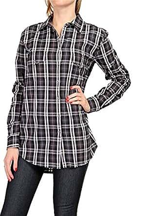 0039 Italy Damen Bluse Hemdbluse ODETTE POCKET, Farbe: Schwarz, Größe: XL