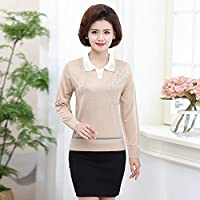 SANMULYH Langarm T-Shirt T-Shirt Frauen Frühling Langärmelige Pullover Stil Revers