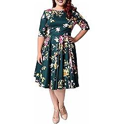 ZAFUL Mujer Vintage Vestido de Fiesta años 50 Impresión De Flores Elegante Vestidos Mangas Medias para Boda Navidad Dress Verde 6XL