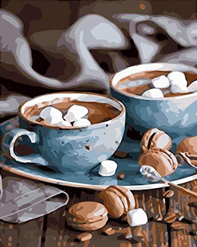 OKOUNOKO DIY Malerei by Zahlen Acryl,Blaue Tasse Kaffee,Wohnzimmer Art,Kein Rahmen 40X50 cm (Tasse Eule Blaue Kaffee)