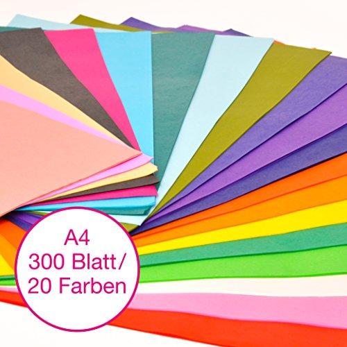 comprare on line Carta velina OfficeTree® 300 fogli formato A4 - 20 colori - tanto divertimento nel bricolage, nel decorare, nel disegnare, nel tagliare - 16 g/m2 qualità premium prezzo