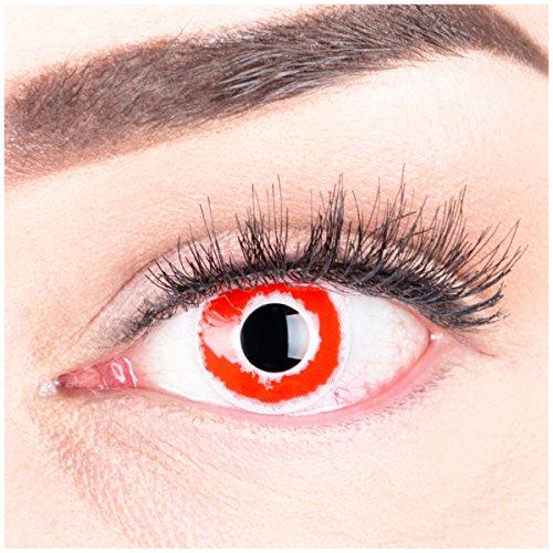 Farbige Funnylens rote Crazy Fun blut rote weisse Kontaktlinsen Hellblazer mit weißem Rand perfekt zu Fasching, Karneval und Halloween, Vampir, Demon Blut rot mit Behälter Topqualität zu Karneval und Halloween