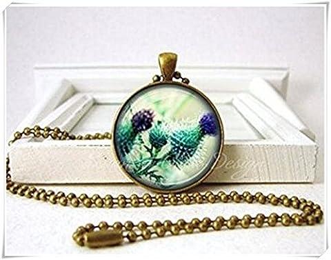 Schottische Distel Blume Halskette–Lila Grün–Bronze Schmuck