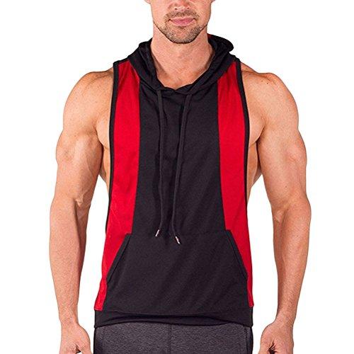 Zhhlinyuan weich Mens Men's Lightweight Sleeveless Cotton Pocket Thin Sports Vest Hooded Red