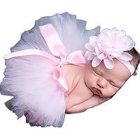 Rosa, recién nacido ropa de tutú falda Headdress de fotos, diseño de flores accesorios de fotografía prop