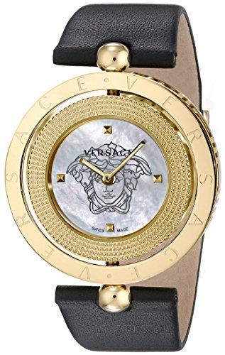 De las mujeres de Versace v79050014Eon analógico pantalla Cuarzo Negro Reloj