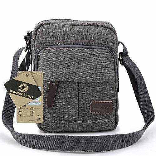 Koolertron Fashion Men's Retro lightweight Small Canvas Cross Body Everyday Satchel Bag (18 cm (W) x 21 cm (H) x 10 cm (D), Grey)