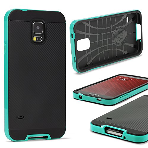 UrCover Custodia Protettiva Compatibile con Samsung Galaxy S5 Mini Back Cover Rigida Carbon Style Bumper Antishock Armor Case Ibrida in Verde Menta