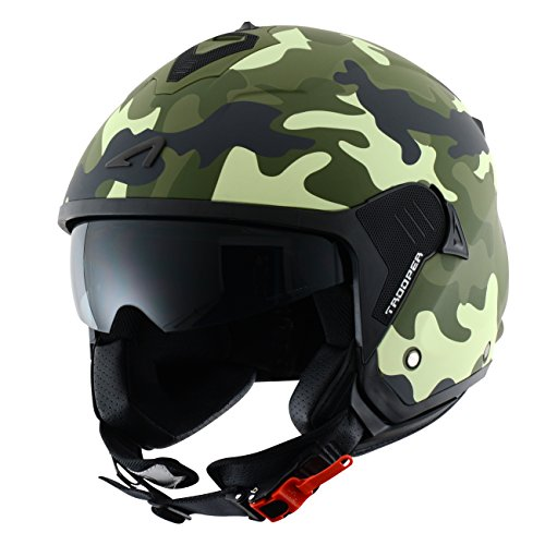 Astone Helmets Casco Jet Mini, diseño de soldado, color Verde, talla