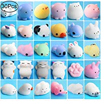 Outee Animal Squishys Toys, 30 Pcs Mochi Squishys Toys Mini Squishys Mochi Cat Squishys Stress Relief Animal Squishys Kawaii Toys Squeeze Squishys for Kids Adults