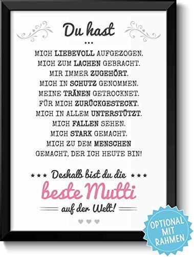 Beste Mama Bild - optional mit Rahmen & Personalisierung - Geschenk Geschenkidee Geburtstag Muttertag Muttertagsgeschenk Mutter Geburtstagsgeschenk