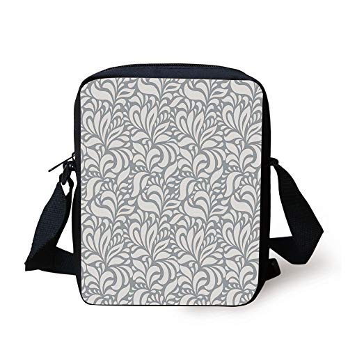 Grey,Flourishing Floral Patterns Baroque Old Fashione Patterns in Mod Art Print Nature Home,Gray White Print Kids Crossbody Messenger Bag Purse -