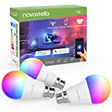 Novostella Smart Bulb B22 RGBCW, Work with Alexa Google Home IFTTT, WiFi Colour Changing Bayonet Bulb, Dimmable Tunable White, (RGB+2700-6500K White, 7W=60W Hal Bulb, 600lm, 3 Pack, No Hub Required)