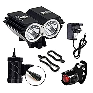 Galwad®5000Lm U2 XML 2 CREE LED Mountain Cycle lights Front Bike lights Bicycle Light Headlamp Torch Headlight Rechargable Head Lights Flashlight with 2x18650 Waterproof Battery Pack Rear Light