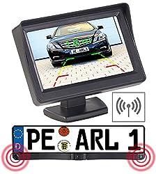 Lescars Einparkhilfe: Funk-Rückfahrkamera in Nummernschildhalter m. Monitor & Abstandswarner (Funk Rückfahrkameras mit Monitoren)