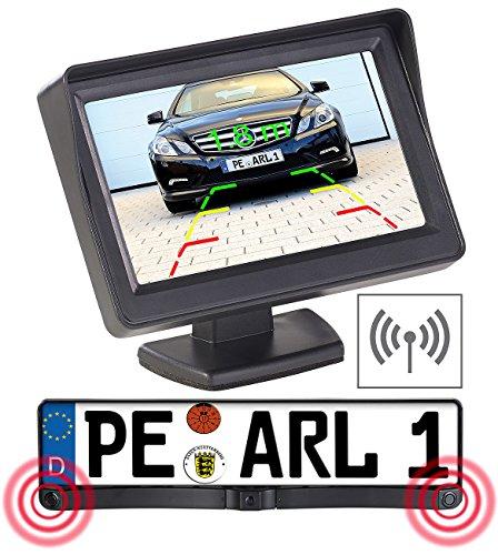 Lescars Einparkhilfe Kennzeichen: Funk-Rückfahrkamera in Nummernschildhalter m. Monitor & Abstandswarner (Funk Rückfahrkameras mit Monitoren)