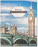 DÉKOKIND Vokabelheft | DIN A4, 84 Seiten, 2 Spalten, Register, Vintage Softcover | Dickes Vokabelbuch | Motiv: Englisch