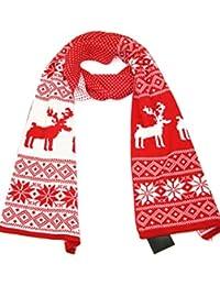 Lovarzi Gestrickter Winterschal für Damen und Herren - Rentier-Weihnachtsmuster
