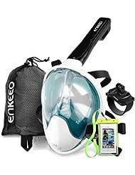 Enkeeo Masque de Plongée Schnorkel Plein Visage 180°Vue Panoramique,Étanche et Anti-Brouillard(Étui Étanche de Téléphone et Bande Compatible GoPro Inclus)
