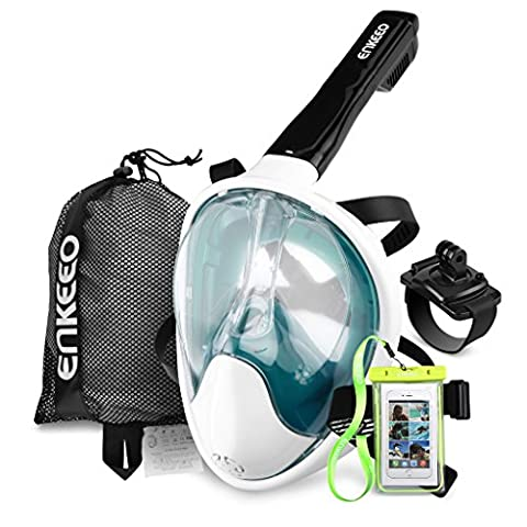 Enkeeo Full Face Snorkel Mask for Adult 180 Seaview Anti-Fog Easy Breathing Dry, with Gopro Mount Wristband, Waterproof Phone Case, Mesh Bag and Extra 4 Straps, Turquoise