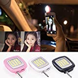 Jiayuane Hanbaili (negro) LED Video Camera Lighting, Mini 16 Leds LED Flash Fill Light Rechargeable Conecte con IOS Android y WP8 Smartphones y Tablet PC