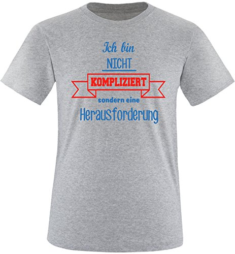 EZYshirt Ich bin nicht Kompliziert sondern eine Herausforderung Herren Rundhals T-Shirt Grau/Blau/Rot