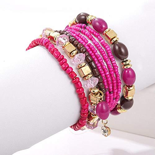 AOTEX Armbänder Armreifen Für Frauen Multilayer Beads Geflochtene Zirkon Anhänger Böhmischen Set Einstellbar Retro Cute Persönlichkeit Simple Geschenk Weiblich Handmade @ Lila -